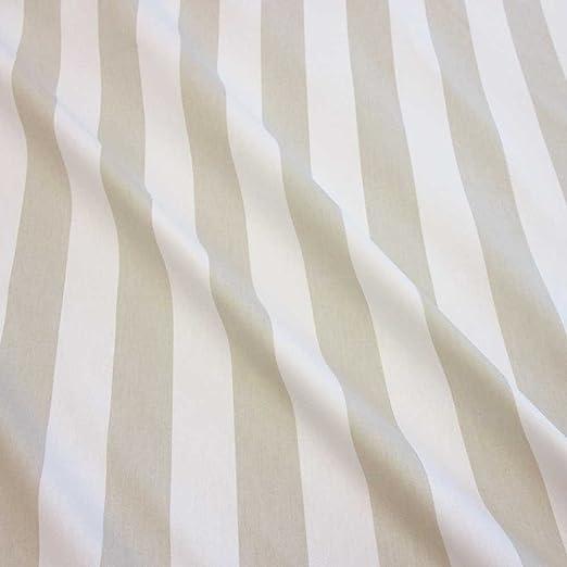 Tela tela de algodón metro rayas beige Stone color blanco diseño ...