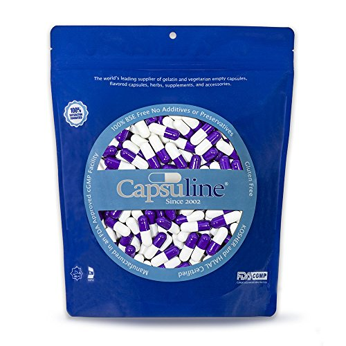 Capsuline Colored Gelatin Empty Capsules Size 00 Purple/White 1000 Count