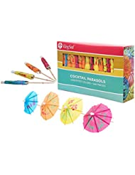 KingSeal 4 Inch Umbrella Parasol Cocktail Picks, Cupcake Toppers - 1 pack of 144 each, Assorted Colors