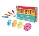 KingSeal 4 Inch Umbrella Parasol Cocktail Picks, Cupcake Toppers - Master Case of 100 Pack/144 per Pack, Assorted Colors