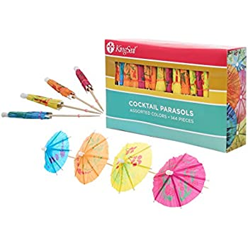 KingSeal 4 Inch Assorted Color Parasol Cocktail Picks - 144 Count