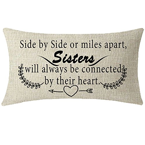 Sister Throw Pillow (NIDITW Great Gift For Sister Quote side by side or miles apart sisters Waist Lumbar Cotton Linen Cushion Cover Pillow Case Cover Home Chair Couch Decor Rectangular 12x20 inches)