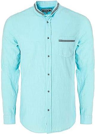 Carisma CRM8489 - Camisa de lino, cuello alto, color azul claro: Amazon.es: Ropa y accesorios