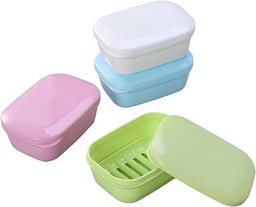 Box Storage Double Layer Plastic Bathroom Soap Dish Case Holder Container