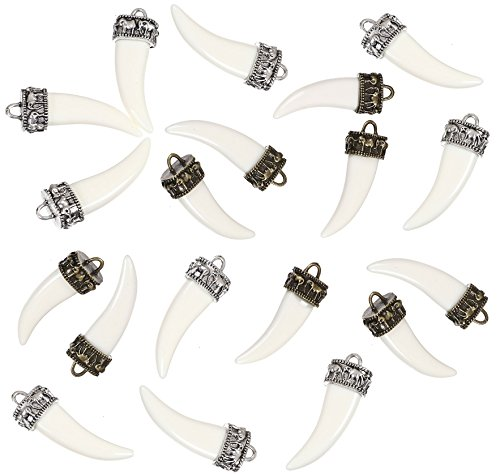 Imitation Wolf Fang Tooth with Elephant Top, 20 Pack - Resin and Zinc Alloy Pendant Charms, Imitation Ivory