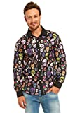 YOU LOOK UGLY TODAY Casual Long Sleeve Printed Button Down Shirt Party Costume Halloween Stylish Funny Dress-up Skull Plant-XX Large