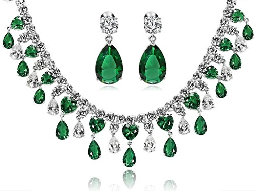 KnSam Women Platinum Plate Teardrop Green Necklace Earrings Set Crystal [Novelty Bridal Jewelry Set] by KnSam