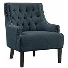 Homelegance Charisma Accent Chair with Button Tufted Backrest and Nail Head Accented Track Arm, Indigo