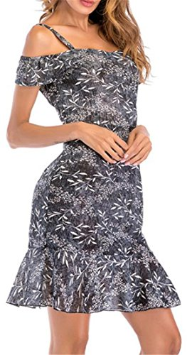 Dresses Floral Shoulder Pleated Swing Sexy Cold Ruffled Gray Chiffon Women's Print Cromoncent fgqwRF6v6