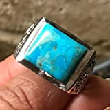 Natural Blue Mohave Turquoise 925 Sterling Silver Men's Art Deco Ring sz 9, 12, 13