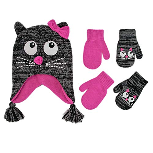 rted Critter Designs Hat and 2 Pair Gloves or Mittens Cold Weather Set, Little Girls Ages 2-7 (Cat Design - Age 2-4 Mittens Set) ()
