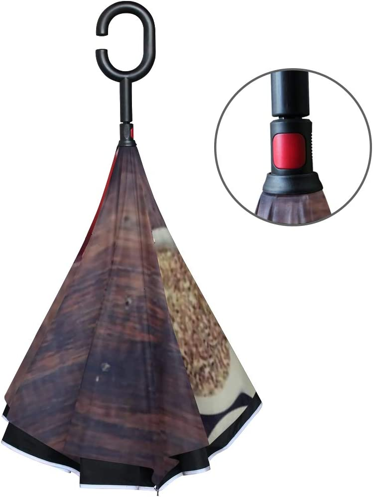 Double Layer Inverted Inverted Umbrella Is Light And Sturdy Assortment Dry Tea On Wooden Background Reverse Umbrella And Windproof Umbrella Edge Nigh