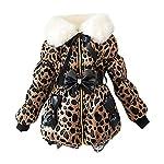 Sweety Girls Faux Fur Collar Jacket Lightweight Warm Padded Zebra Leopard Print