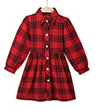 ZANDZ Little Girls Cotton Sleeveless Button Pocket Plaid Casual Summer Dress(A-Red,3T-4T)