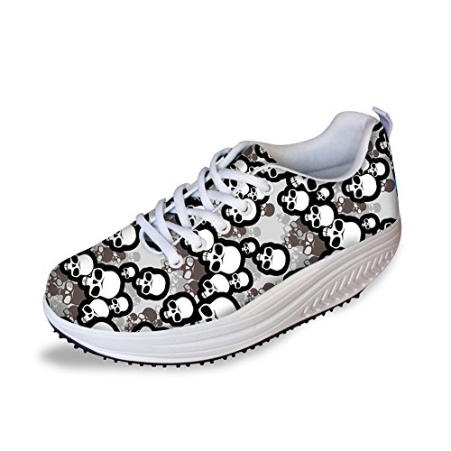 Platform HUGSIDEA Ups Shoes Fashion Skull Punk Skull8 Print for Women Shape 7wr7Yq6