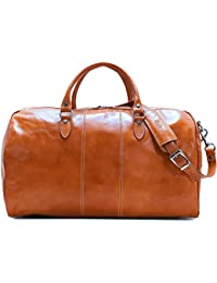 Venezia Duffle Olive (Honey) Brown Italian Leather Weekender Travel Bag