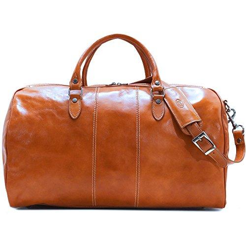 Olive (Honey) Brown Italian Leather Weekender Travel Bag (Venezia Canvas Duffle Bag)