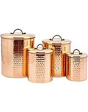 Old Dutch International 843 Canister Set, 4Qt, 2Qt, 1½Qt,1Qt, Copper