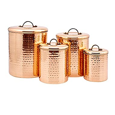 4 Piece Décor Copper  Hammered  Canister Set