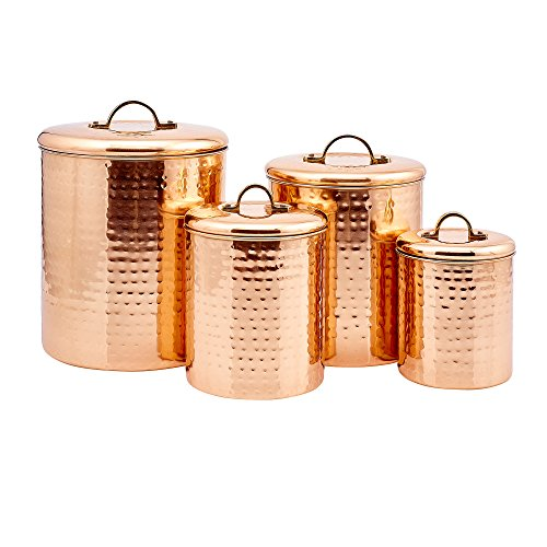 Old Dutch International 843 Canister Set, 4Qt, 2Qt, 1Qt,1Qt, copper