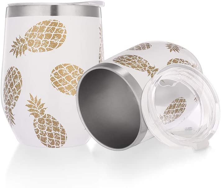 WDG 2 Pack Pineapple Wine Glasses Insulated Wine Glass with Lid 12 oz Double Wall Vacuum Insulated Wine Glasses without Handle for Champagne, Cocktail, Beer, Office
