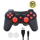 PS3 Wireless Controller, SKILEEN PS3 Wireless Controller Joystick Gamepad Remote Control Multi-Media Game Joypad for PS3 with Charge Cord ( Red)