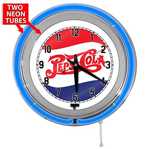 "Pepsi Cola 15"" Blue Double Neon Garage Clock from Redeye Laserworks"