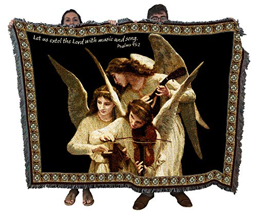 Pure Country Weavers Angels Playing Violin Woven Large Tapestry Throw Blanket with Fringe Cotton USA 72x54 Perfect Decor Gift for Mother Daughter Father Son Him Her