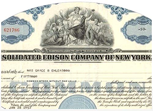 (1950 RAREST OLDEST CON EDISON STOCK (1940's-50's) + FREE 60's VARIETY! BOTH BLUE Choice Crisp About Uncirculated)