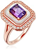 Sterling Silver with Pink Gold Plating Amethyst and Mother of Pearl and Lab White Sapphire Ring, Size 7