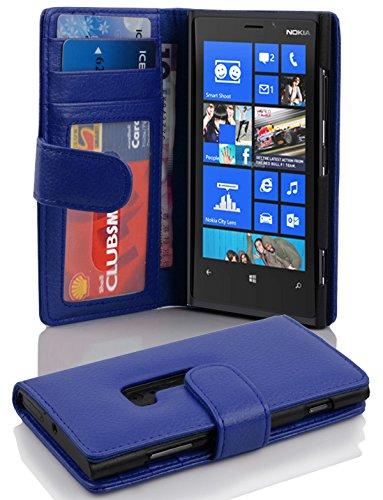 Cadorabo - Funda Nokia Lumia 920 Book Style de Cuero Sintético en Diseño Libro - Etui Case Cover Carcasa Caja Protección con Tarjetero en NEGRO-ÓXIDO NEPTUN-BLAU
