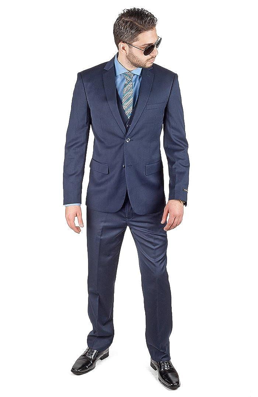 8e254d1cb9fe2a AZAR MAN Slim Fit 3 Piece Vest Navy Blue Suit 2 Button Notch Lapel by at  Amazon Men's Clothing store: