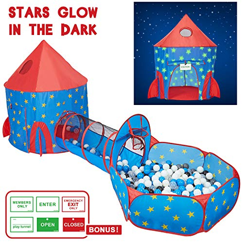 - HAN-MM 3pc Play Tent Ball Pit with Tunnel Stars Glow in The Dark, Tunnel & Ball Pit Basketball Rocket Ship Astronaut Hoop Toys with Bonus Message Signs for Indoor Outdoor Camping