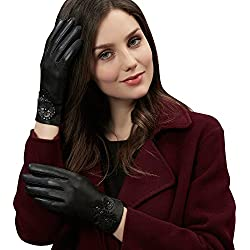 Winter Genuine Sheepskin Black Leather Gloves for Women-Touchscreen on Five Fingers for Texting Driving Polyester Lined by GSG(8.5in.)
