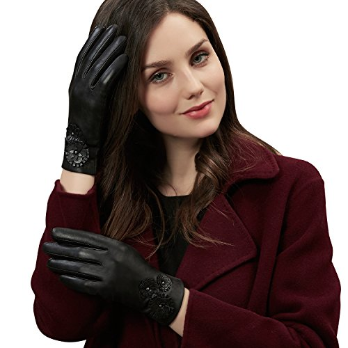 Winter Genuine Sheepskin Black Leather Gloves for Women- Touchscreen on Five Fingers for Texting Driving Polyester Lined by GSG( 8in.) - Finger Sheepskin Leather Glove