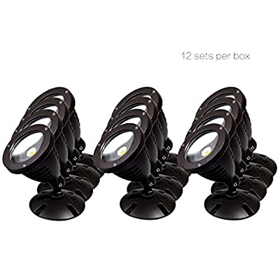Case of 5 boxes, 12 sets per box, TOPELE 1100LM LED Flood Light, LED Outdoor Security Light, Exterior Flood Lights Fixture with CREE LED Source for Landscape Light, Commercial, Home, Garden, Yard, Wat