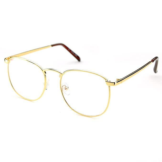 470fb215f38 PenSee Oversized Circle Metal Eyeglasses Frame Inspired Horned Rim Clear  Lens Glasses (Gold)  Amazon.in  Clothing   Accessories