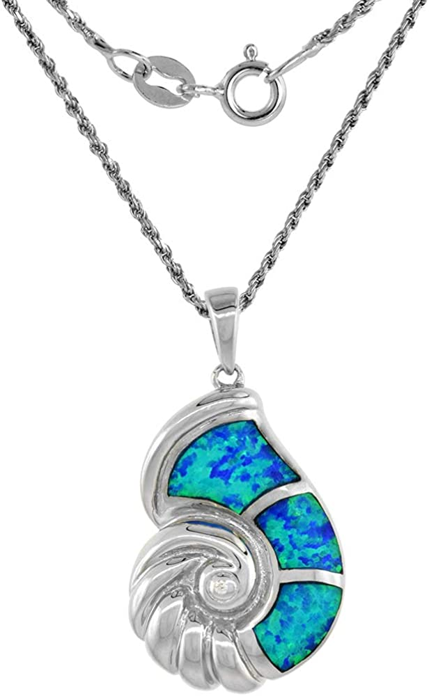 Sterling Silver Synthetic Opal Seashell Necklace in Blue /& Pink CZ Accent 1 1//8 inch Rope Chain