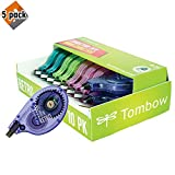 Tombow 68723 MONO Retro Correction Tape, Assorted Colors, 10-Pack. Colorful, Easy To Use Applicator for Instant Corrections - Pack of 5