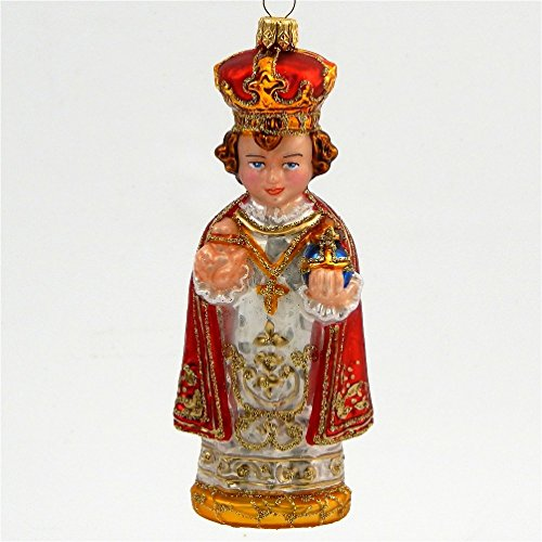 Infant Jesus of Prague - Blown Glass Ornament - Made in (Poland Glass Ornaments)