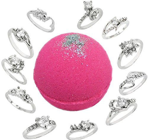 Bath Bomb with Ring Surprise Inside 8.1oz Pink Sugar w/ Silver Shimmer and Kaolin & Coconut Oil