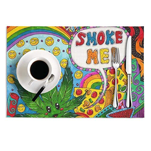 (Quinnteens Washable Table Mats Trippy Cute Marijuana Non-Slip Insulation Placemat (2pcs placemats,12x18)