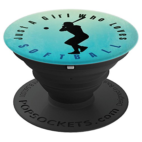 Silouette Girl (Just A Girl Who Loves SOFTBALL Silouette Hitting at Bat - PopSockets Grip and Stand for Phones and Tablets)