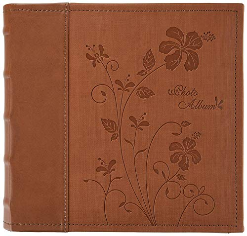 Golden State Art Photo Album Brown Scroll Embossed Faux Leather Cover, Holds 200 4x6 Pictures by Golden State Art