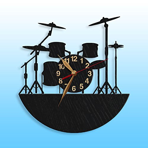 Musical Instruments Wall Clock, Drum, Wooden clock, Musician's 12 inch (30cm) Wood Clock, Modern, Personalized Drummer Gift Wall Art Decor (Wood Handpainted Black clock)