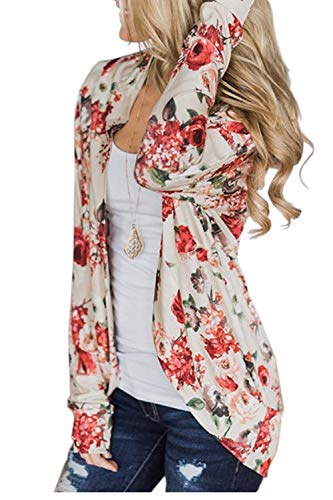 AuntTaylor Womens Loose Fit Kimono Long Sleeve Top Front Open Cardigans White M