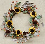 Dried Sunflower Ring Sage Olive Leaves Yellow Orange Rust Pip Berries Pine Cones Country Primitive Floral Décor