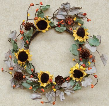 Dried Sunflower Ring Sage Olive Leaves Yellow Orange Rust Pip Berries Pine Cones Country Primitive Floral Décor by BCD