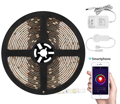 TORCHSTAR 16.4ft Led Strip Light Work with Alexa, WiFi Wireless Smart Phone App, Flexible Color Changable RGB 36W Lighting Kit, IP65 Waterproof, UL-Listed 12V Power Supply in Party & Home Decoration