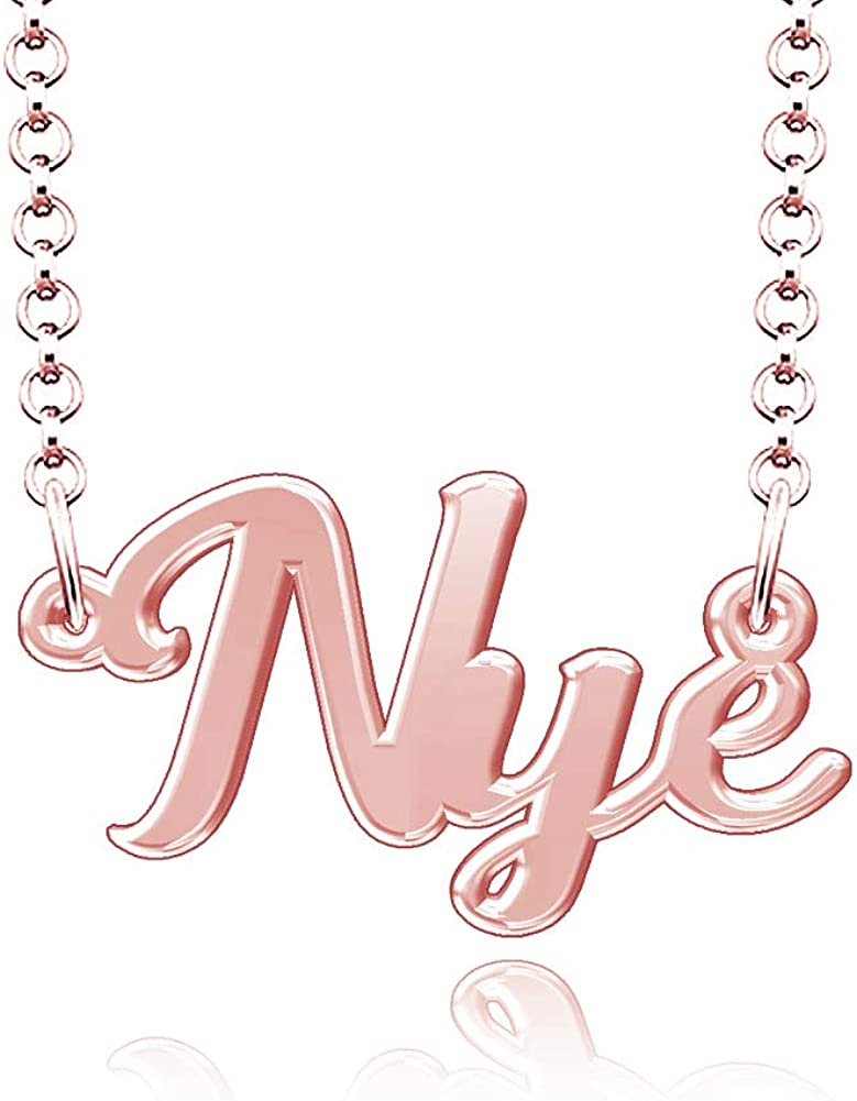 LoEnMe Jewelry Nye Name Necklace Stainless Steel Plated Custom Made of Last Name Personalized Gift for Family